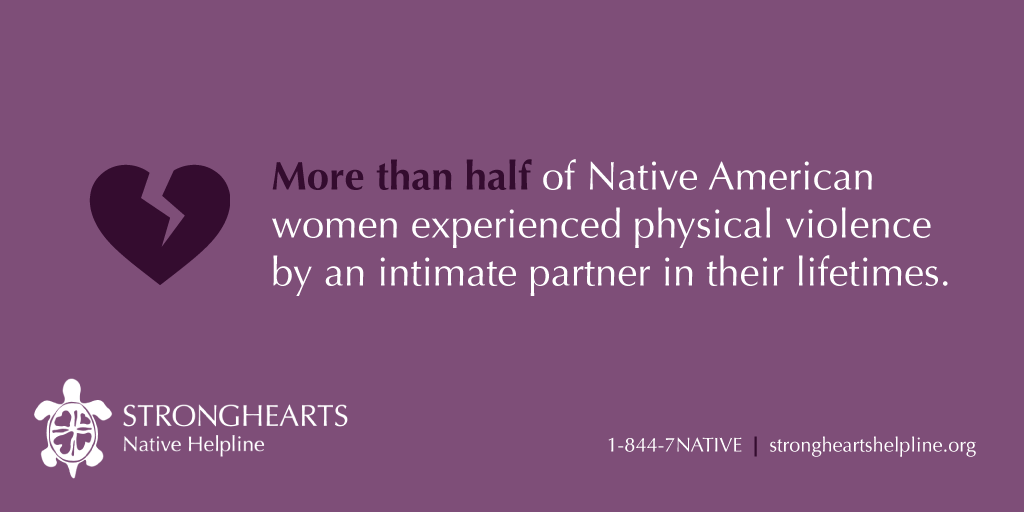Stronghearts stat of the amount of Native American women who have experienced physical violence.